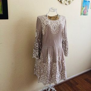 Eliza J bell sleeves beige tan lace dress